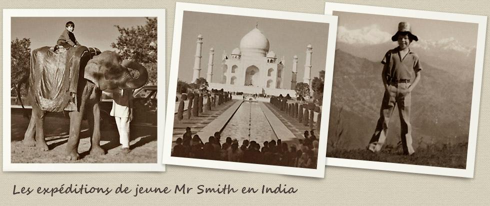 M. Smith jouant avec des éléphants et des chevaux à Assam, en Inde