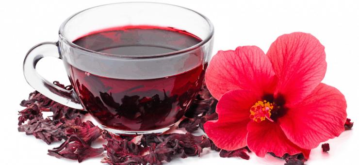 Hibiscus Tea with Hibiscus Flower